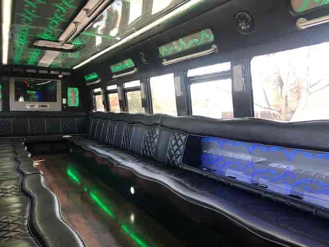 Black bus interior
