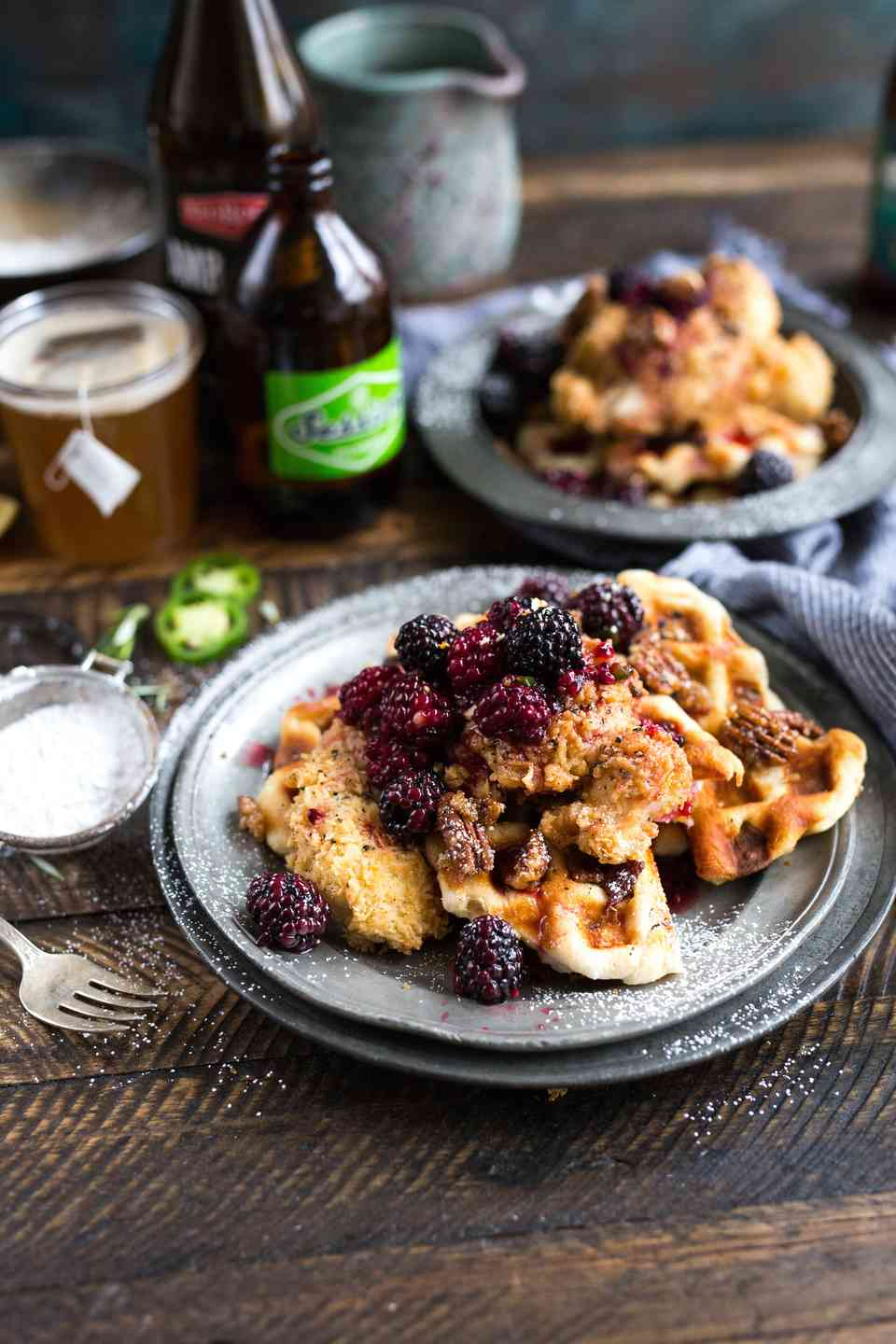 Chicken & Waffles with Fruit