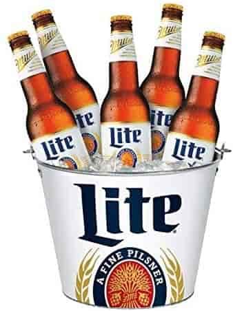 Buckets of Miller Lite Bottles