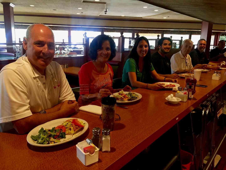 Cooper Family Sharing a meal @ Kenos in 2017- Steve, Sandy, Christina, Robert, & Gene