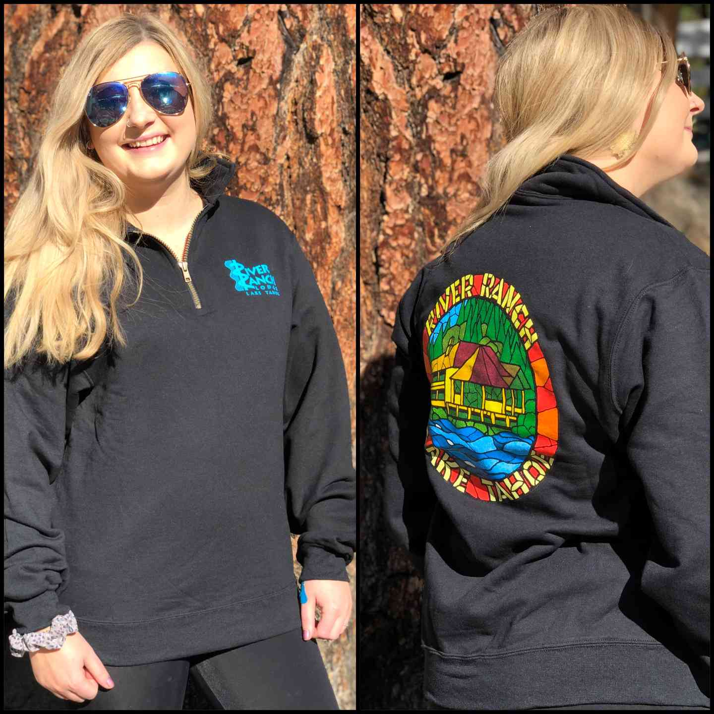 Black Mosaic 1/4 Zip Sweatshirt