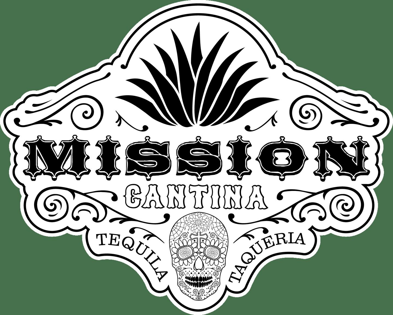 mission cantina full detail skull logo in black and white