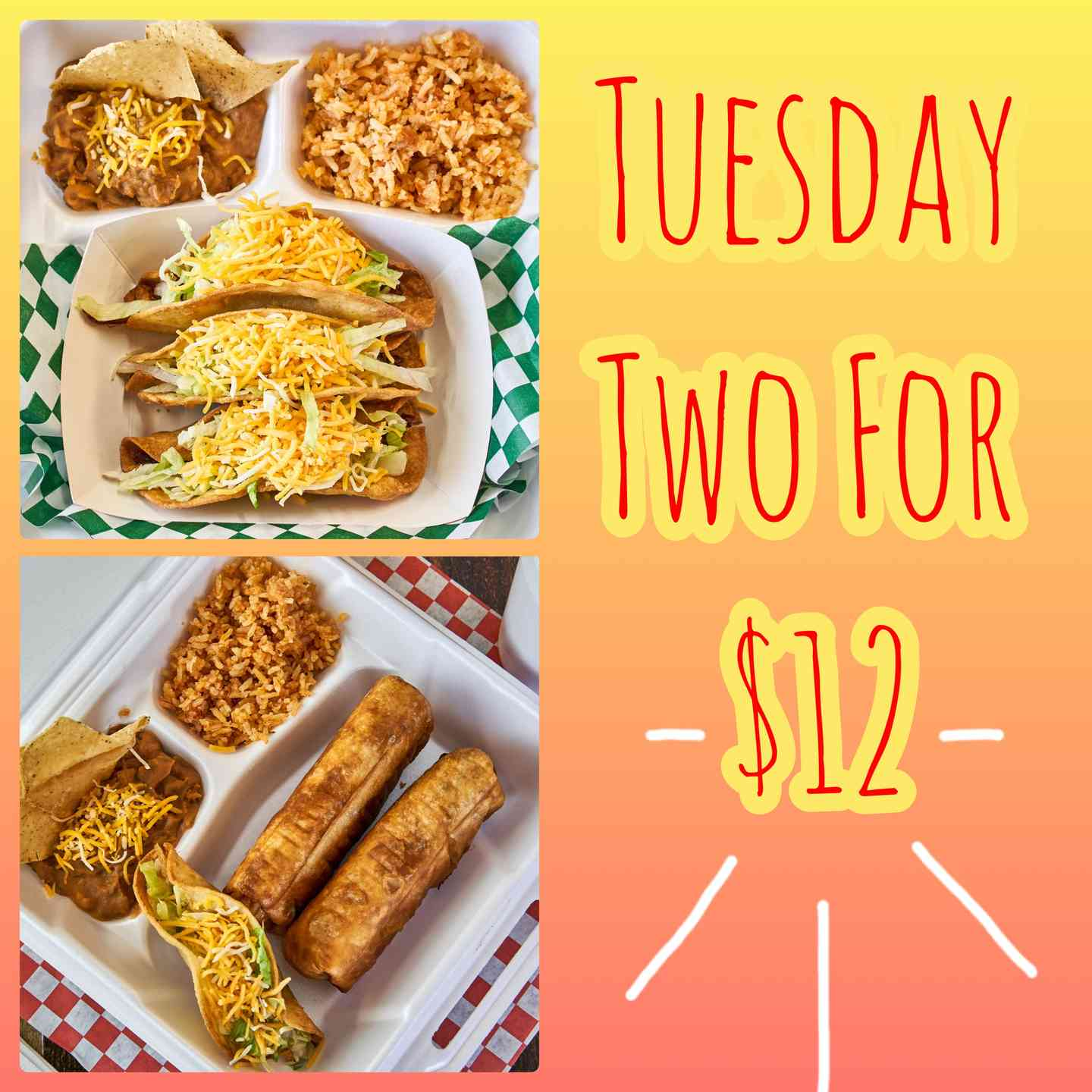 2 Dinners for $12