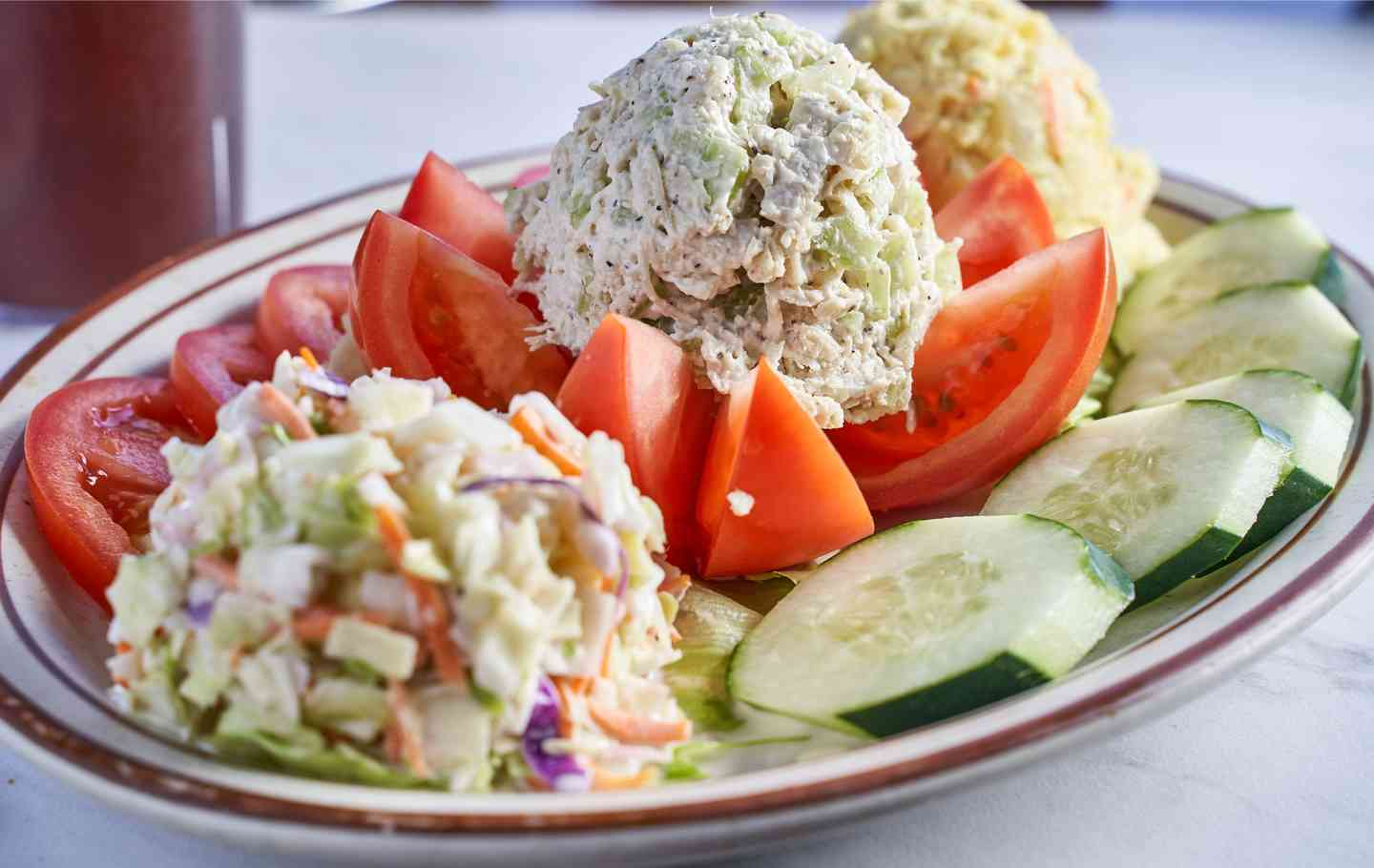 Stuffed Tomato with Chicken Salad Platter