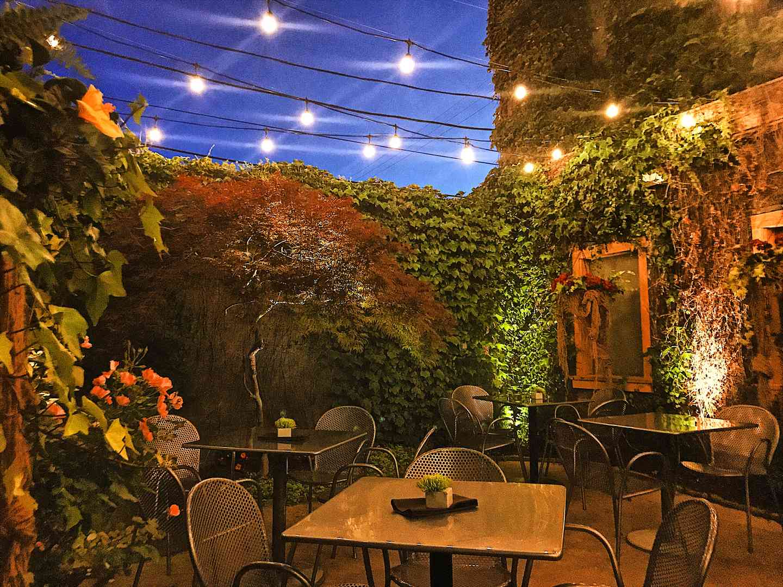 night time patio