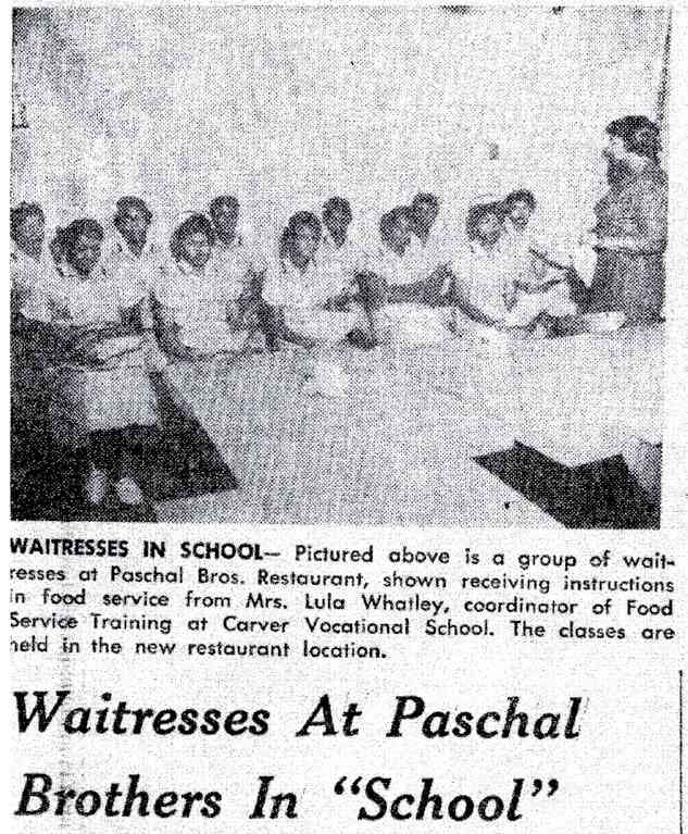 Waitresses at paschal brothers in school