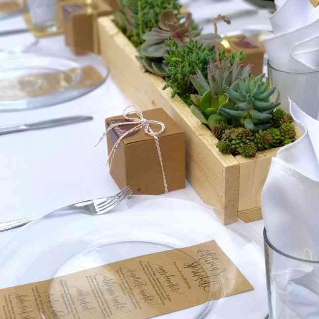 table with gift