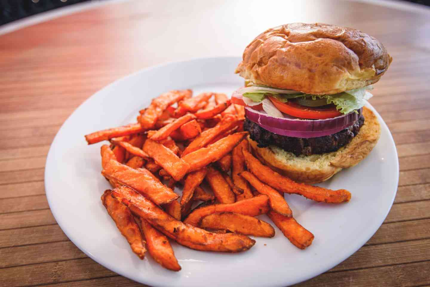 burger with sweet potato fries