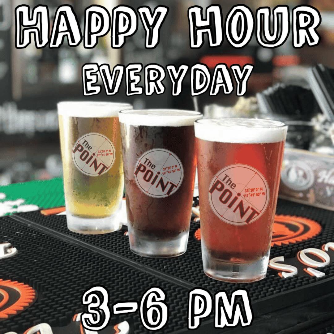 Happy Hour Everyday - Monday 3 to Close - Tuesday thru Sunday 3 PM - 6 PM