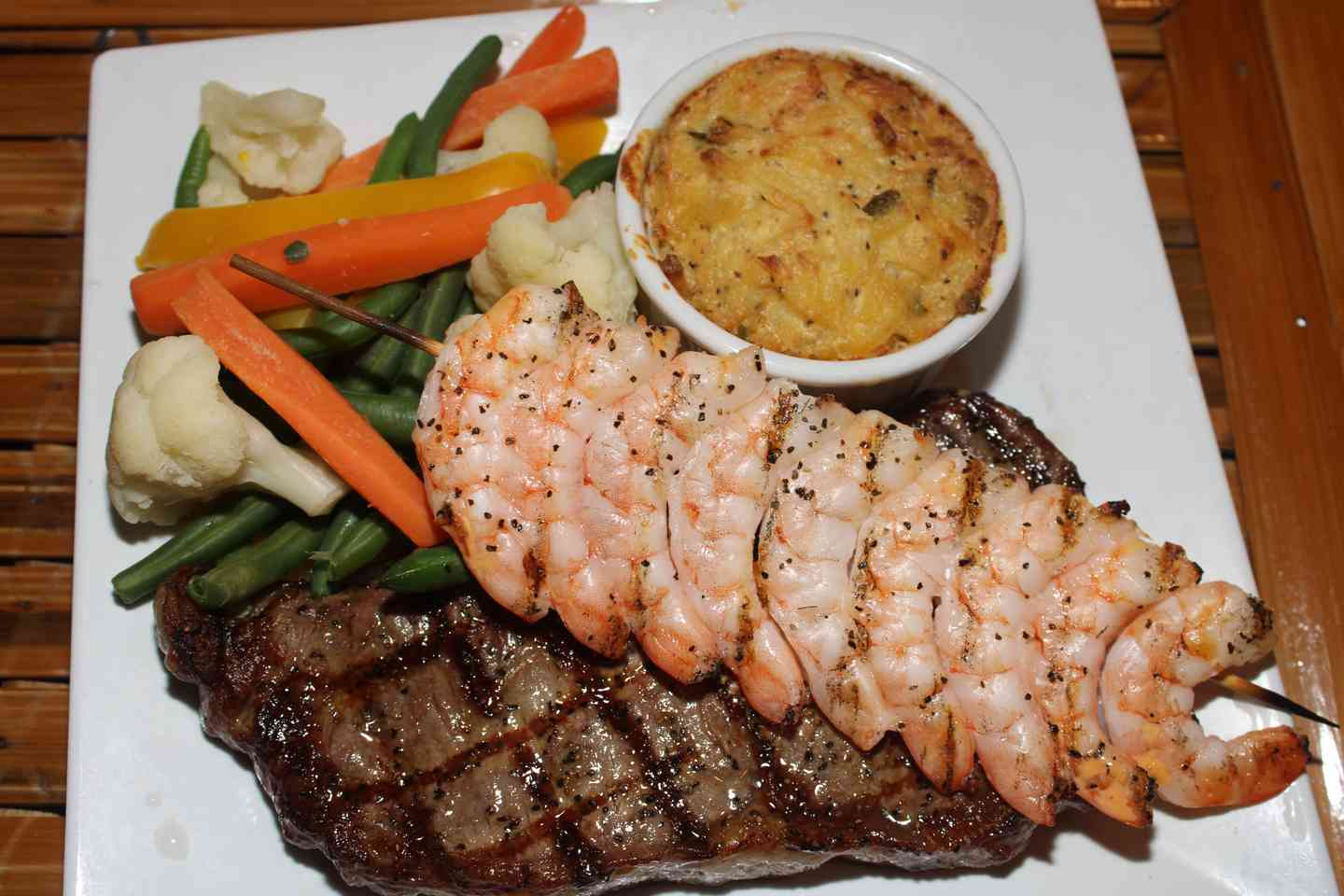 New York Strip with Shrimp Skewer