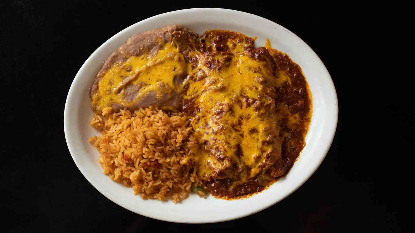 Beef Enchiladas or Green Chicken Enchiladas or Chicken Fried Steak