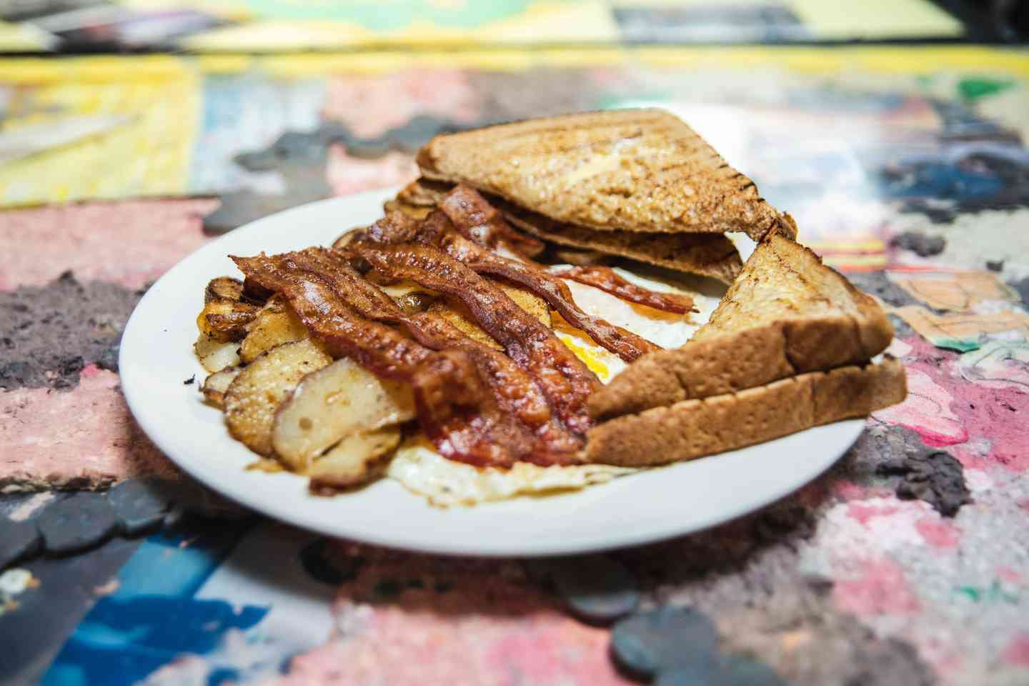 2 Eggs, Toast, Homefries with Bacon, Sausage or Ham