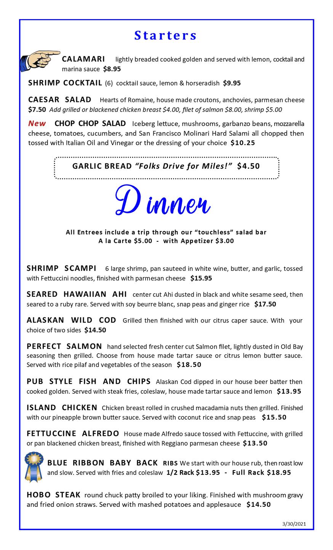 Dinner Menu p1