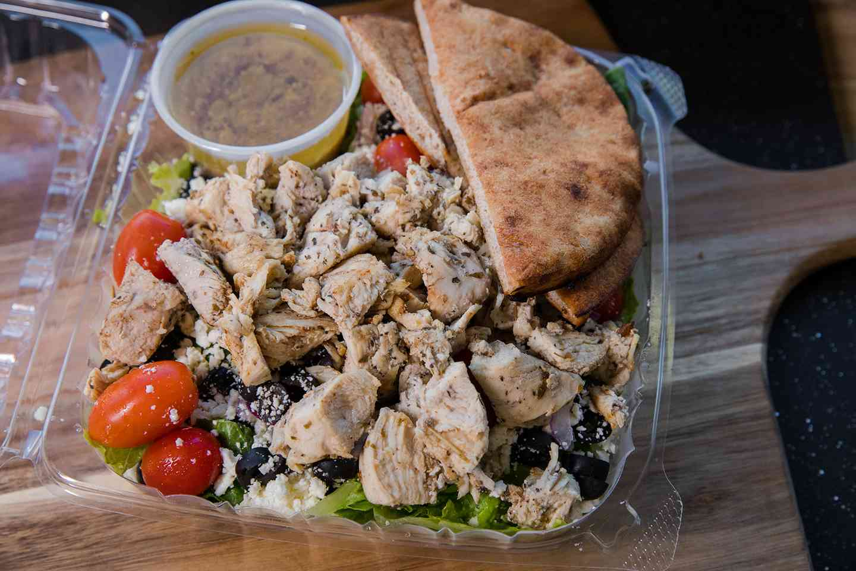 Chicken or Steak Souvlaki Salad