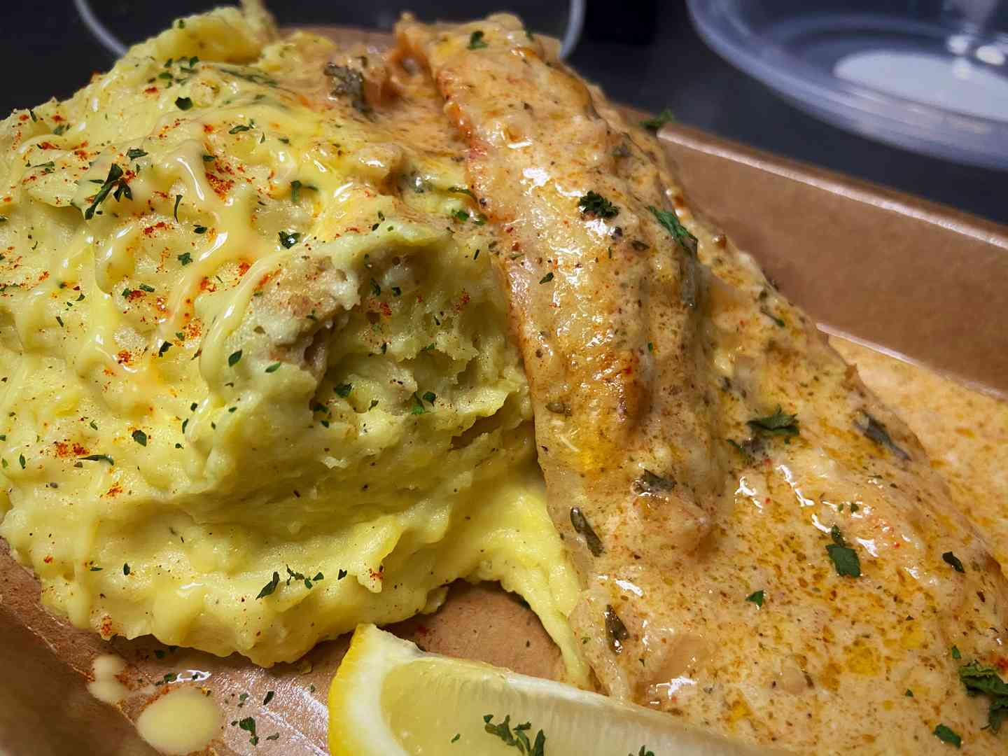 Lemon Glaze Baked Fish & Gold Mash