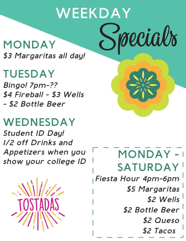 Weekly specials / Happy Hour Deals