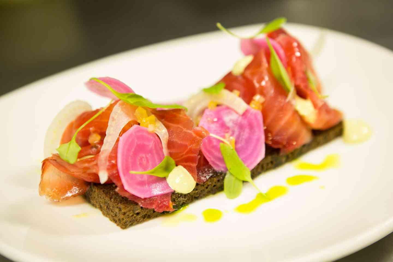 Salmon and radishes