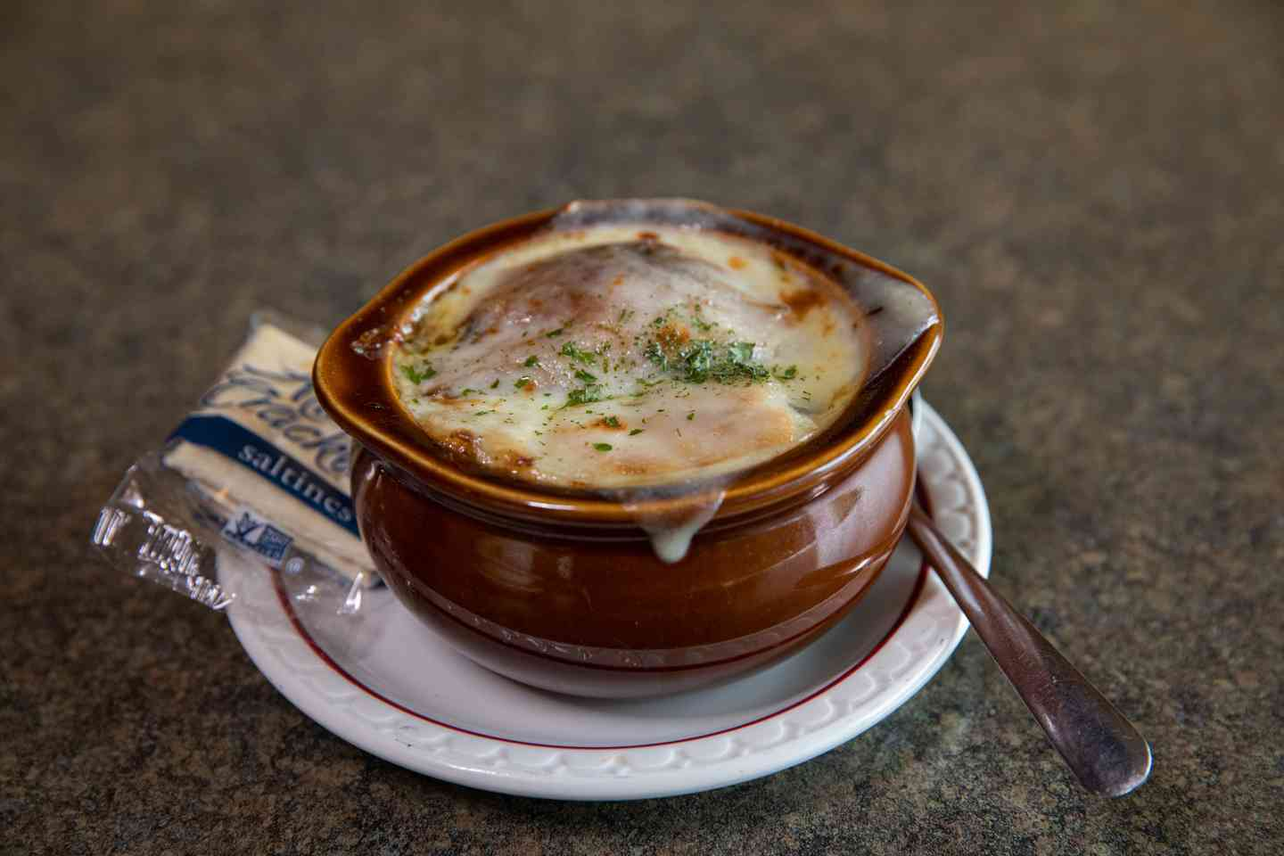 Bowl of French Onion Soup & Salad
