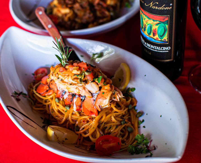 Fresh pasta lobster saffron