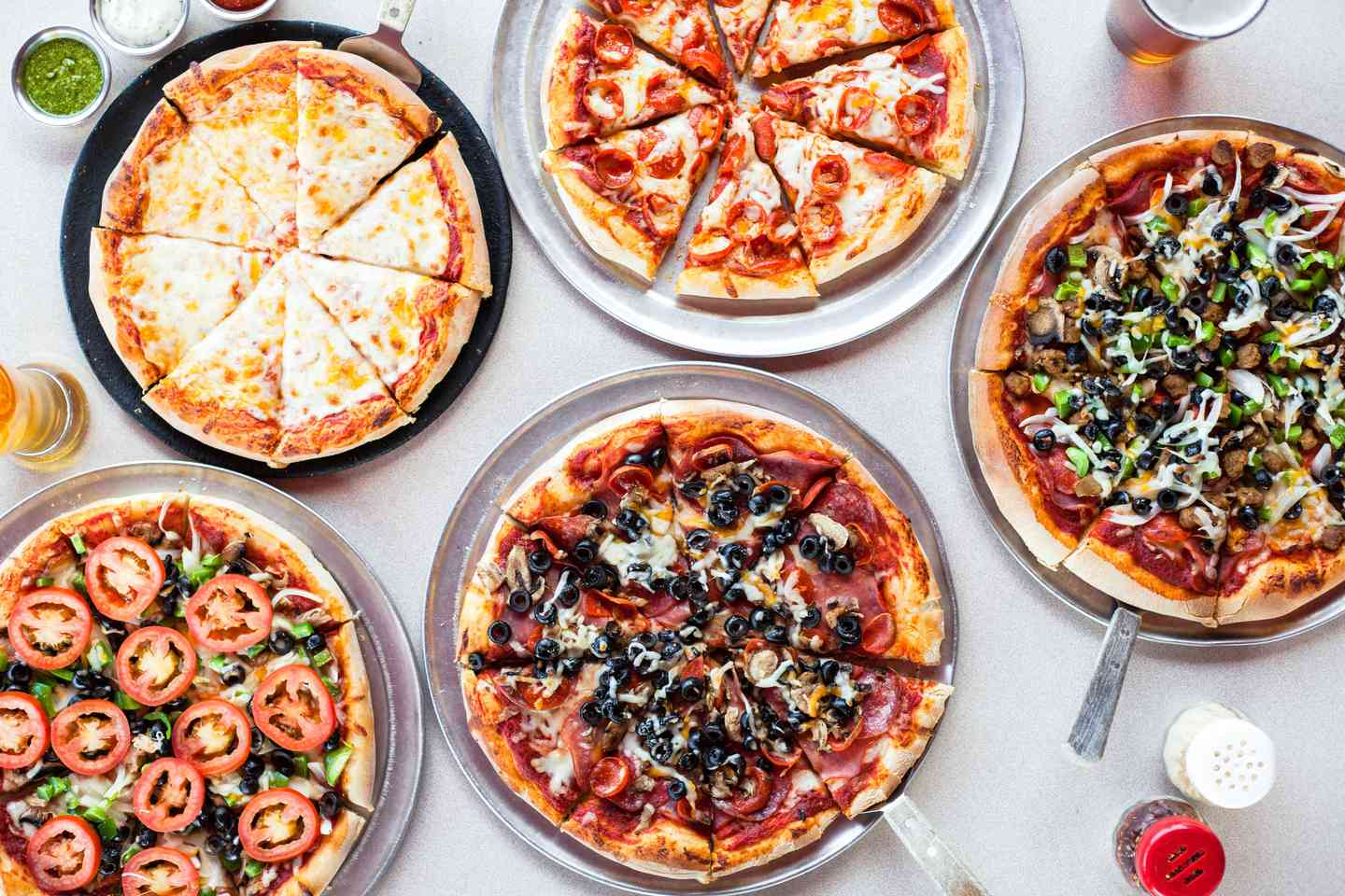 group of pizzas