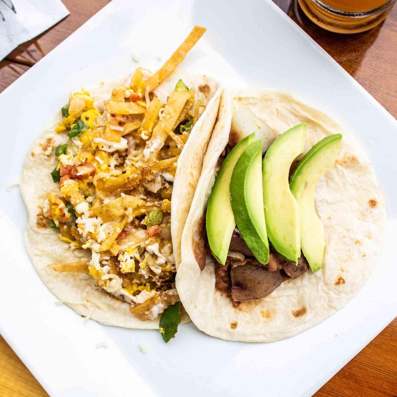 tacos with avocado slices