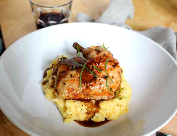 chicken red wine demi glace