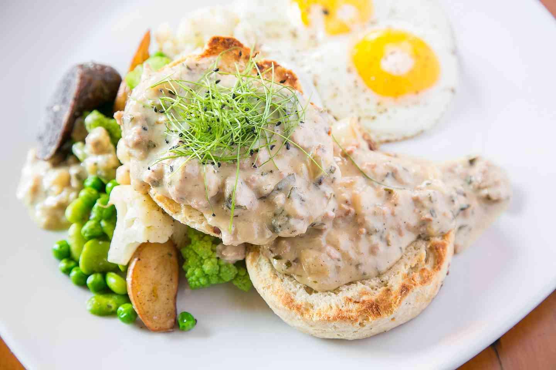 Sharp Cheddar Buttermilk Biscuits with House Made Sage-Garlic Sausage Gravy