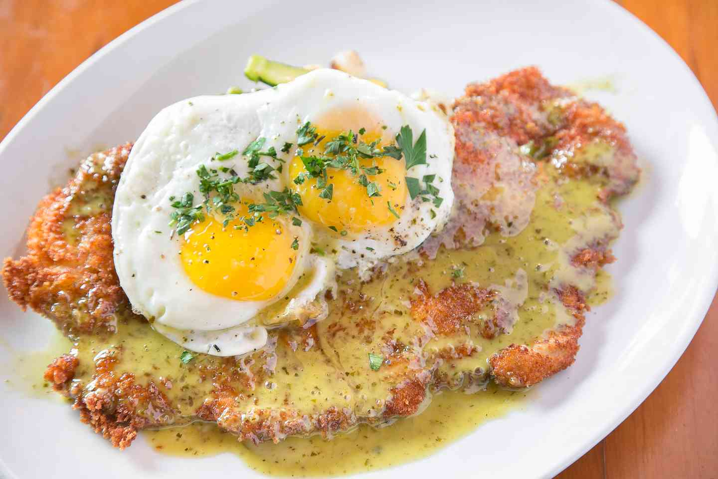 Crispy Duroc Pork Schnitzel With Maitake Mushrooms