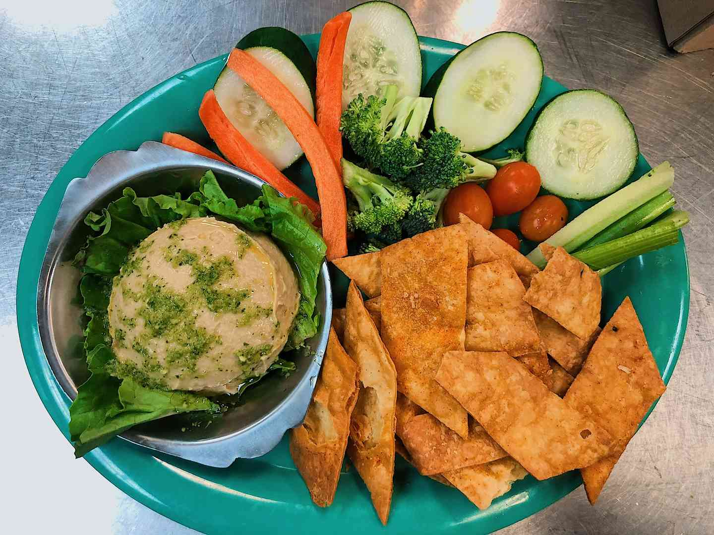 Homemade Hummus Plate with Chips & Veggies