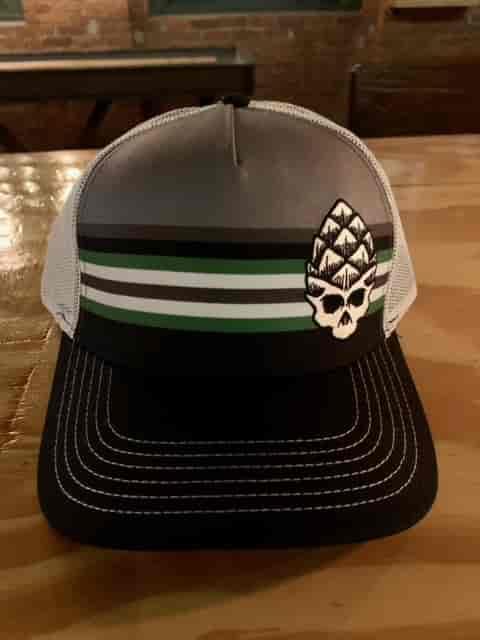 Grey/Green Stripe Hop Skull Black Hat