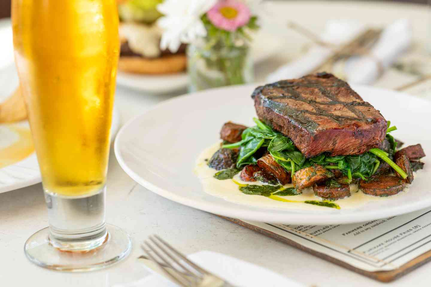 flat iron steak and beer