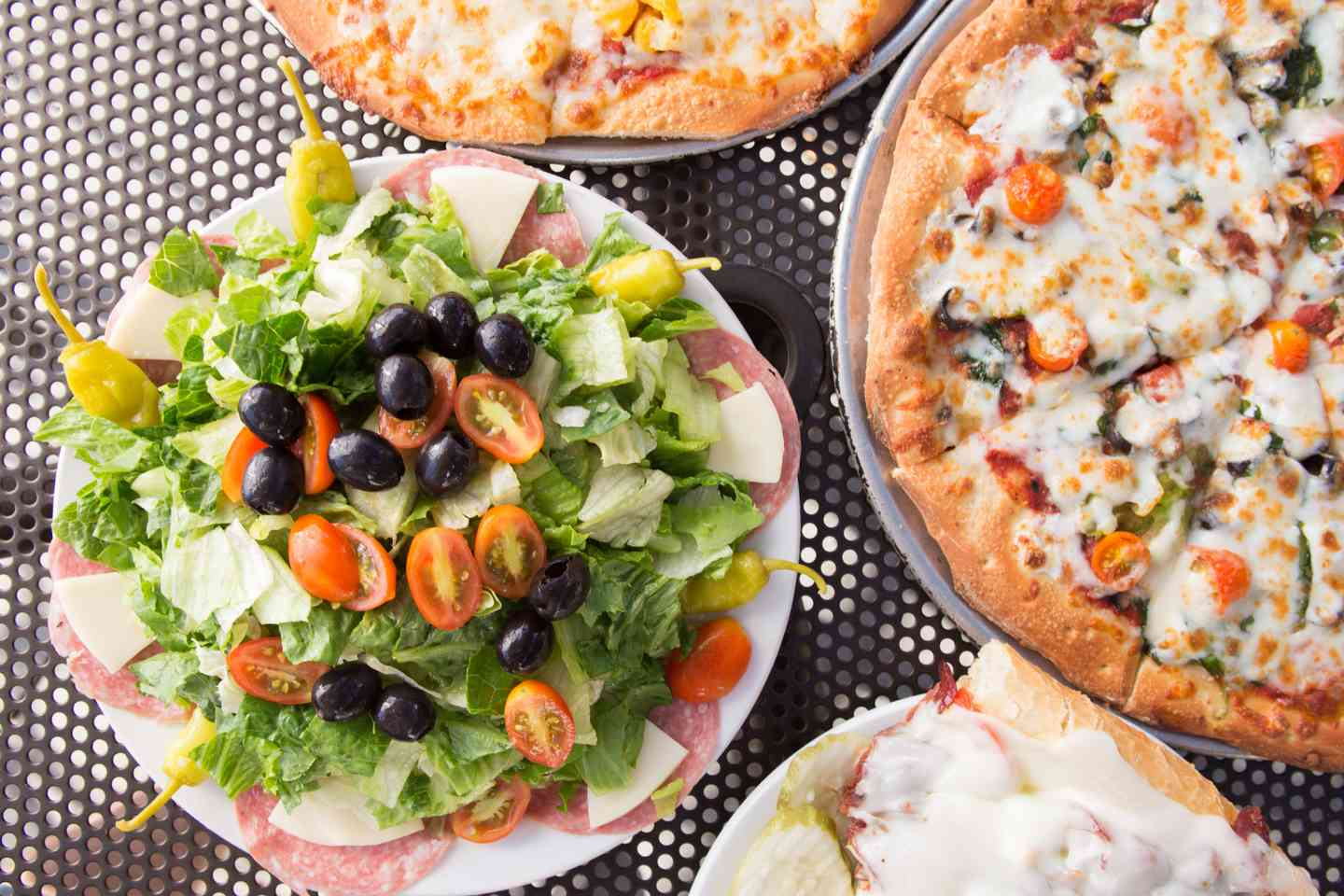 salad and pizzas