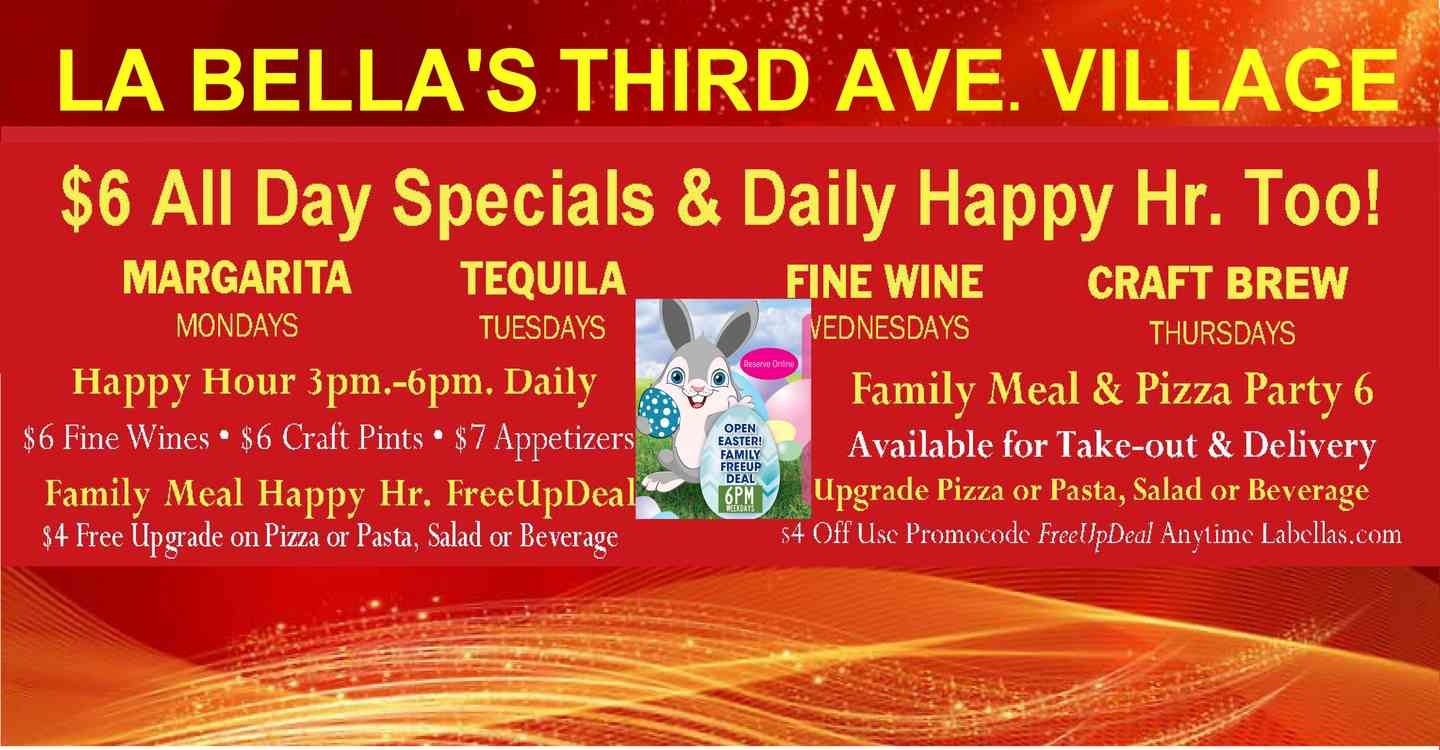 Happy hour 3-6pm Weekdays & Daily Happy Hour Too Takeout & Delivery Available