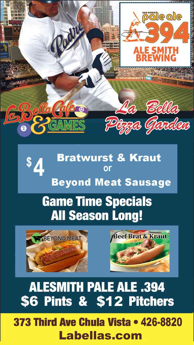Padres Game Time Specials $4 Bratwurst Kraut & New Beyond Meat Sausage