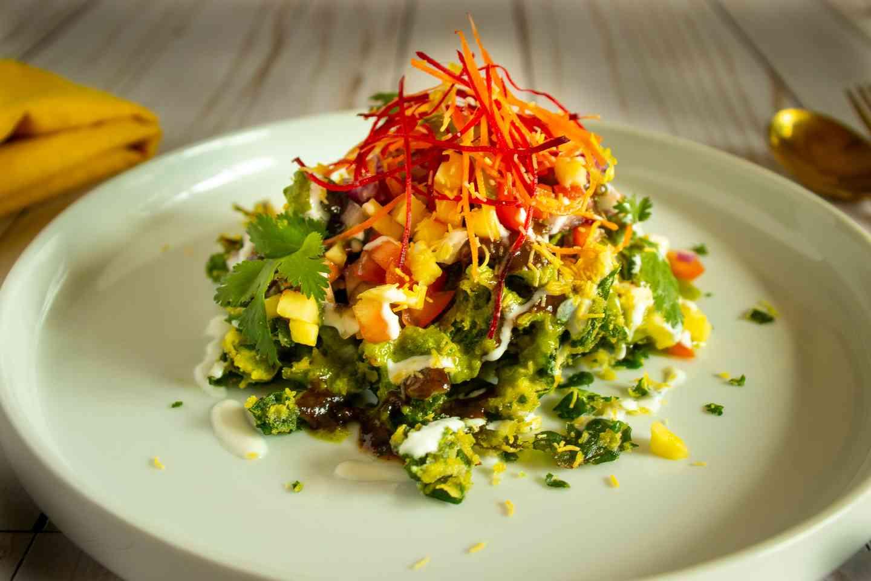 Spinach Pakora Chaat