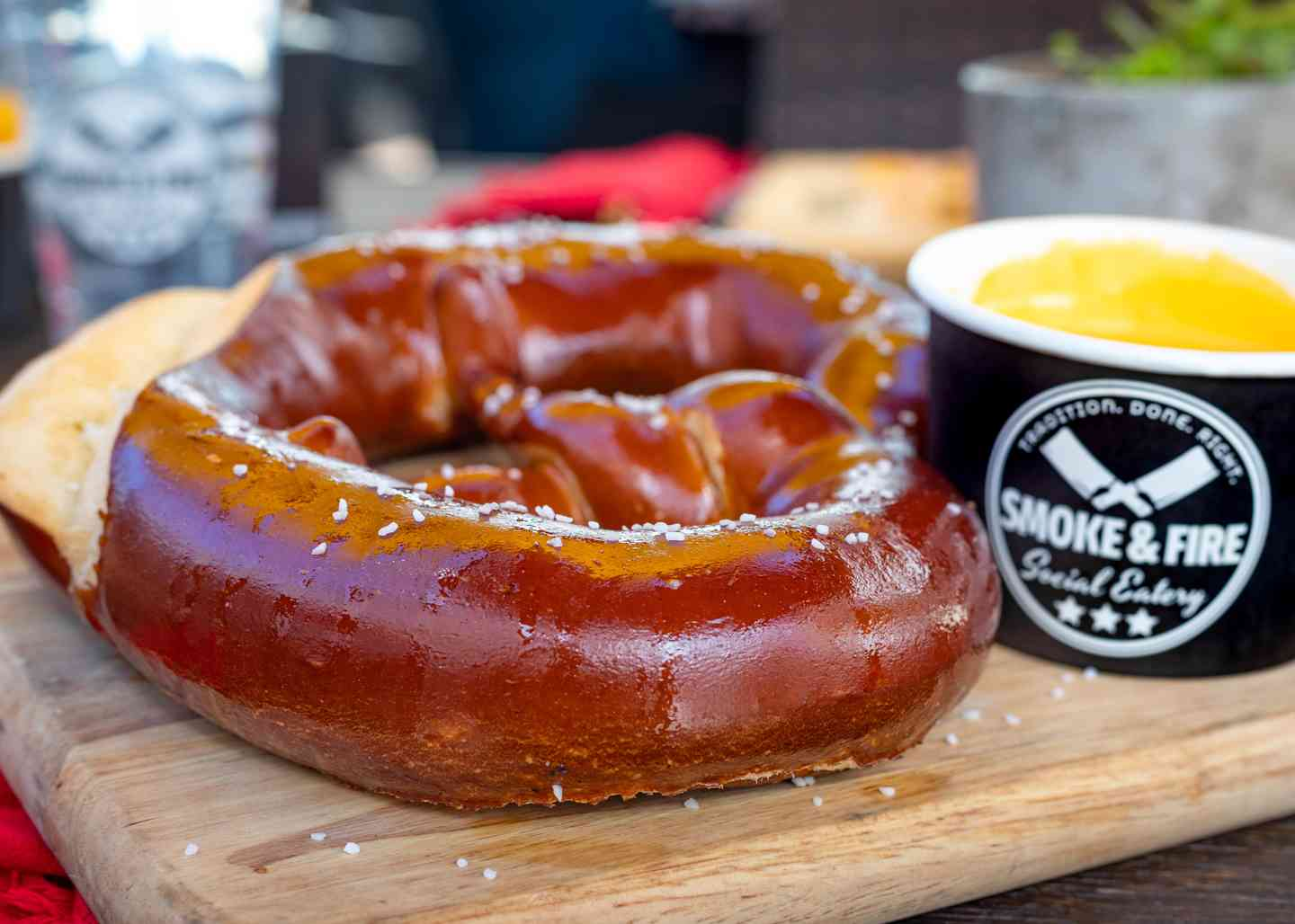 Giant Pretzel with Cheese Sauce