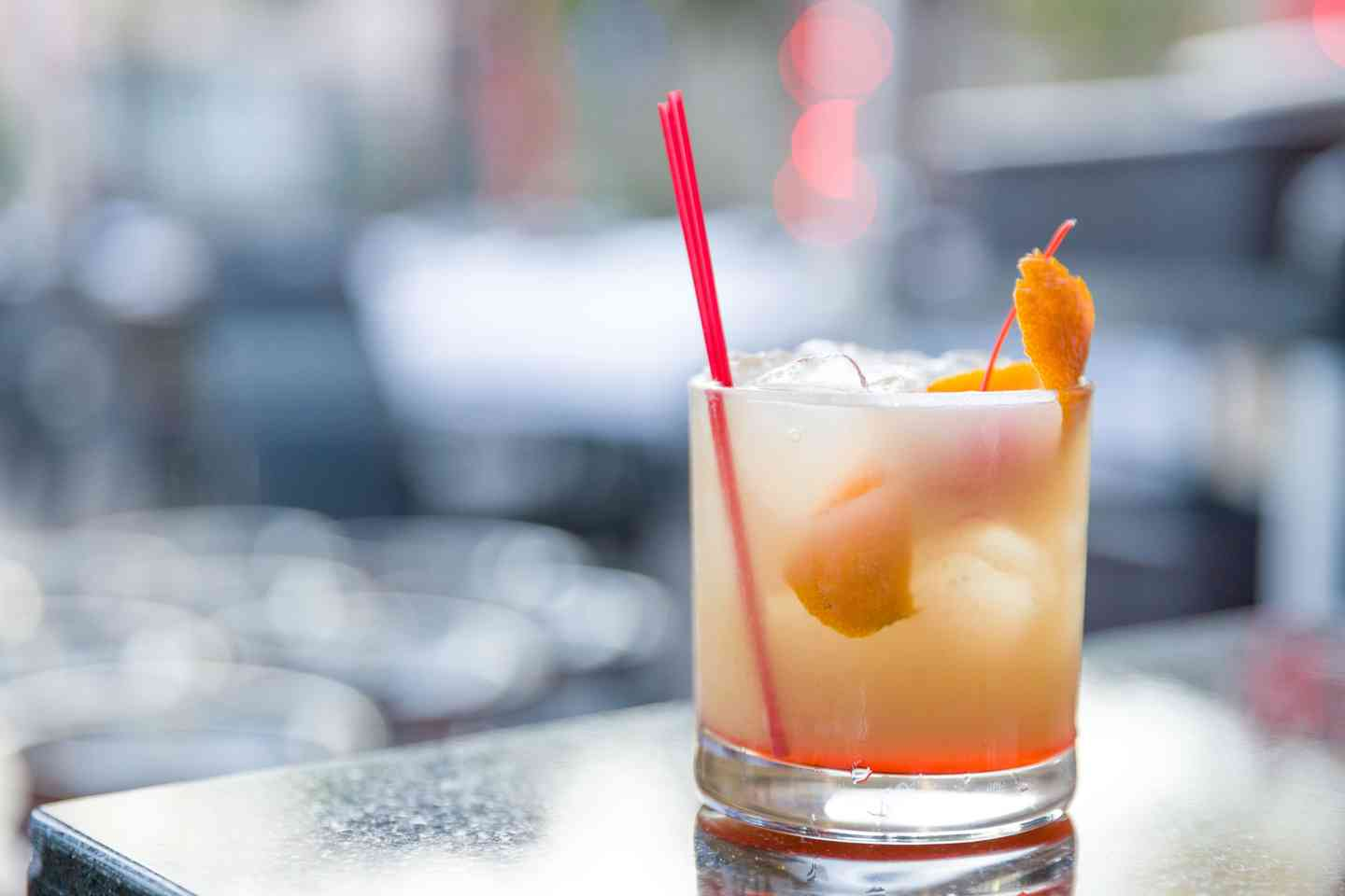 Satin peach sour cocktail