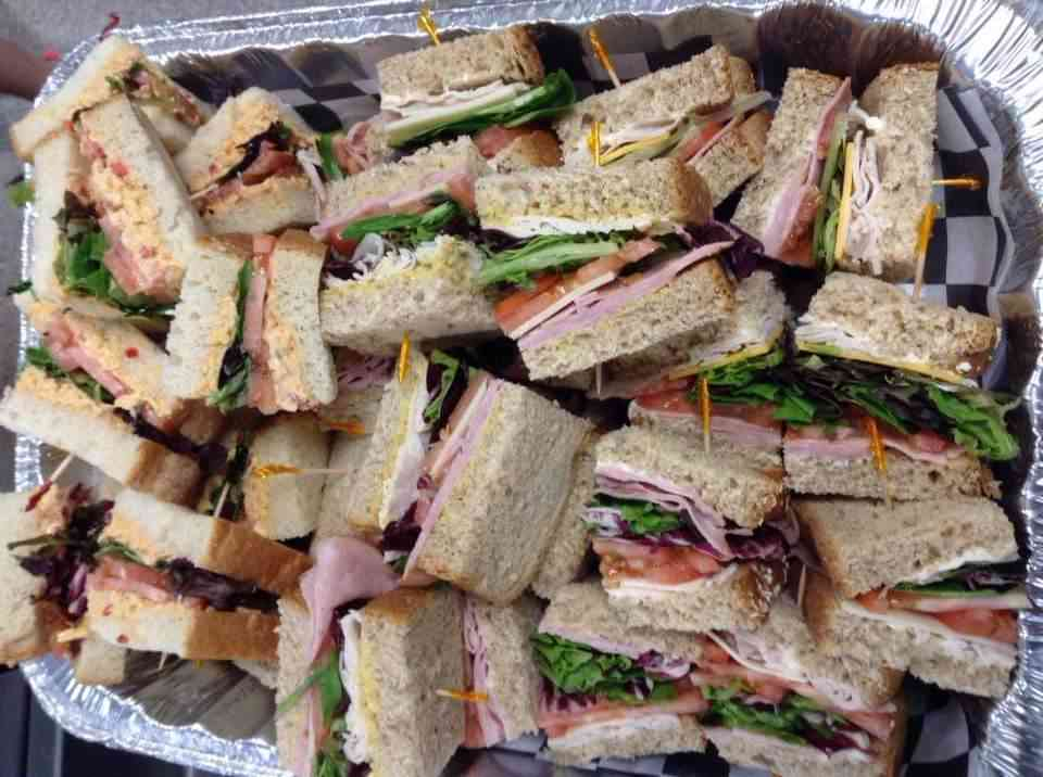 Tray of sandwiches
