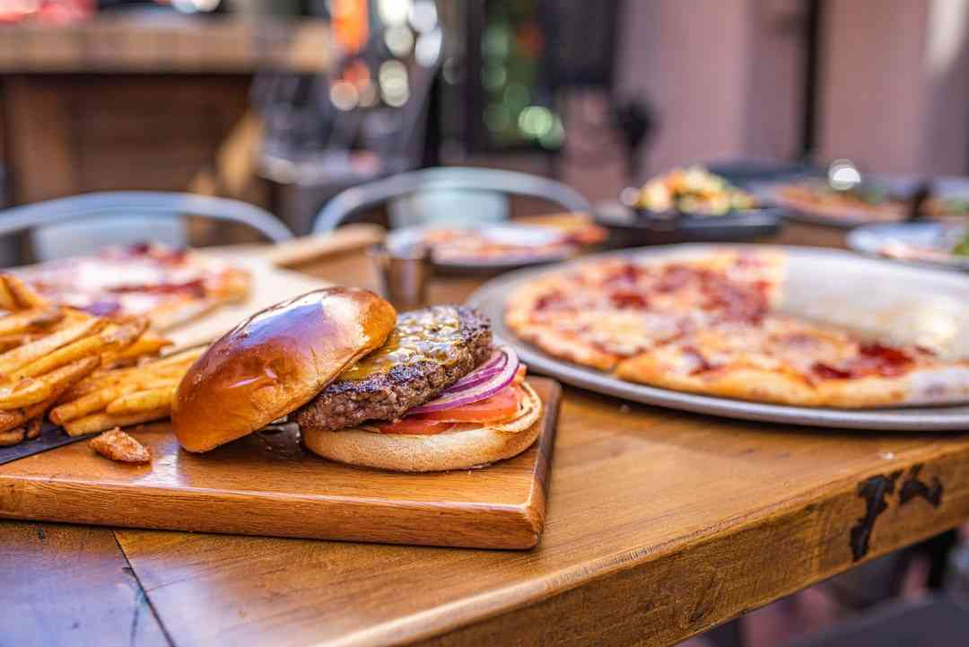 Burger and pizza