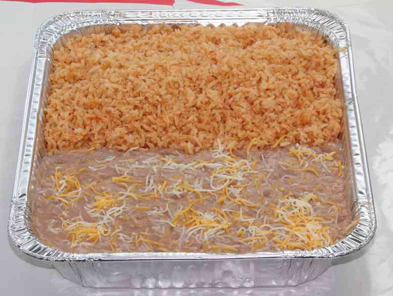tray of half rice & beans