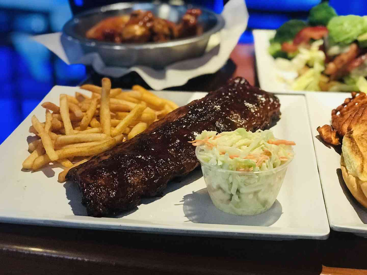 Ribs with fries and coleslaw
