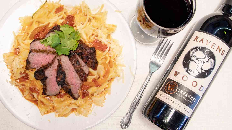 pasta primavera and wine