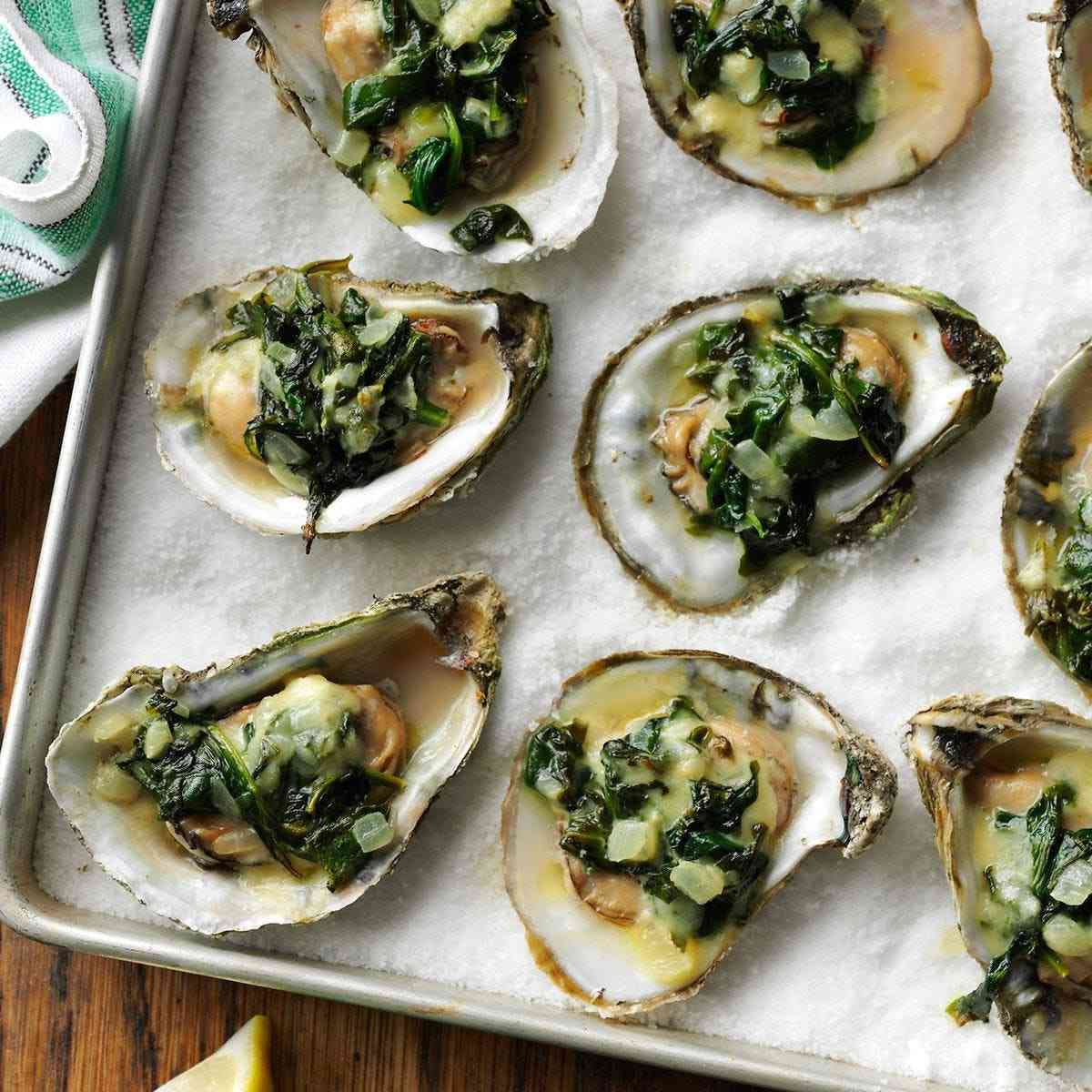 Roasted Spinach-Garlic Oysters