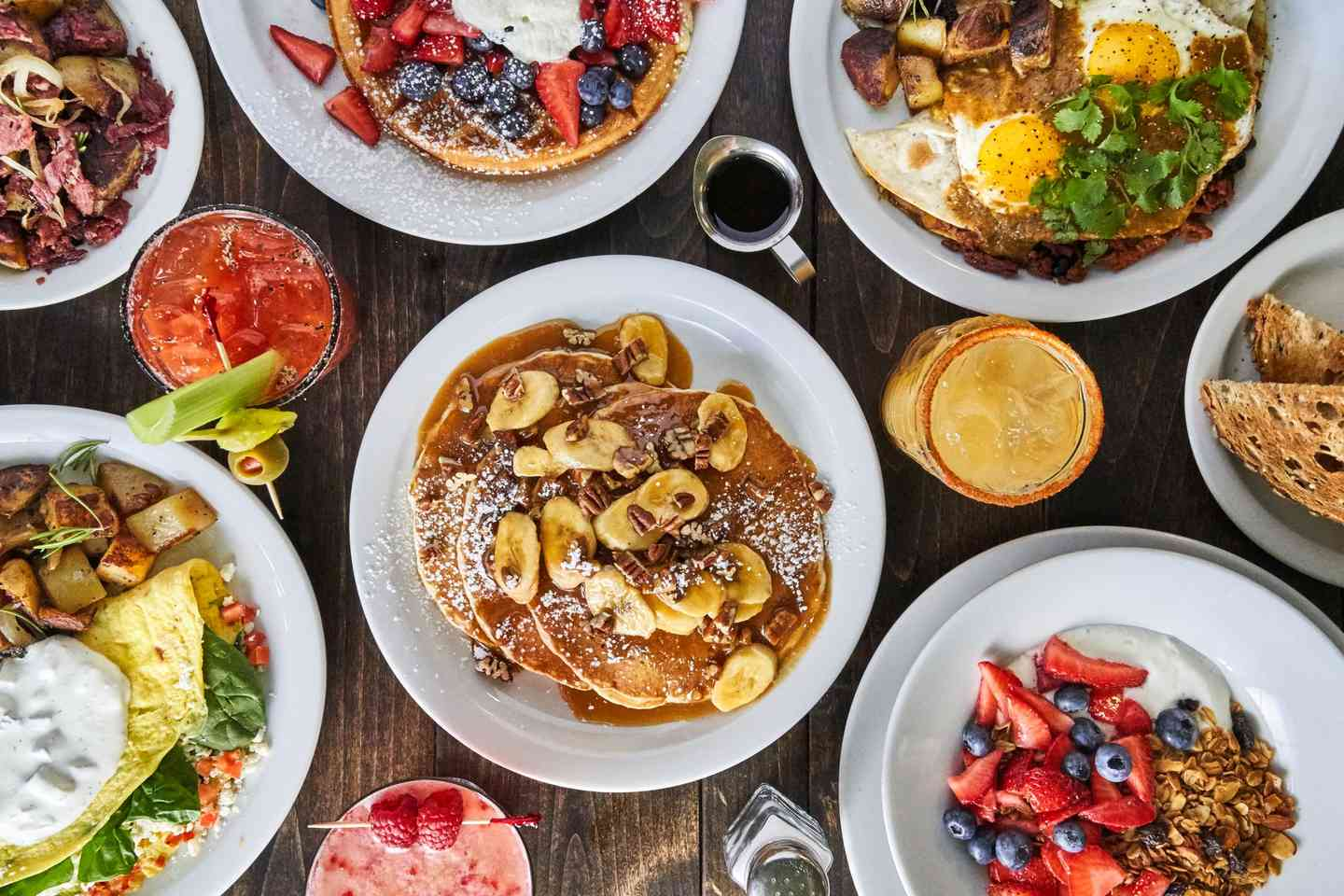 assorted breakfast dishes