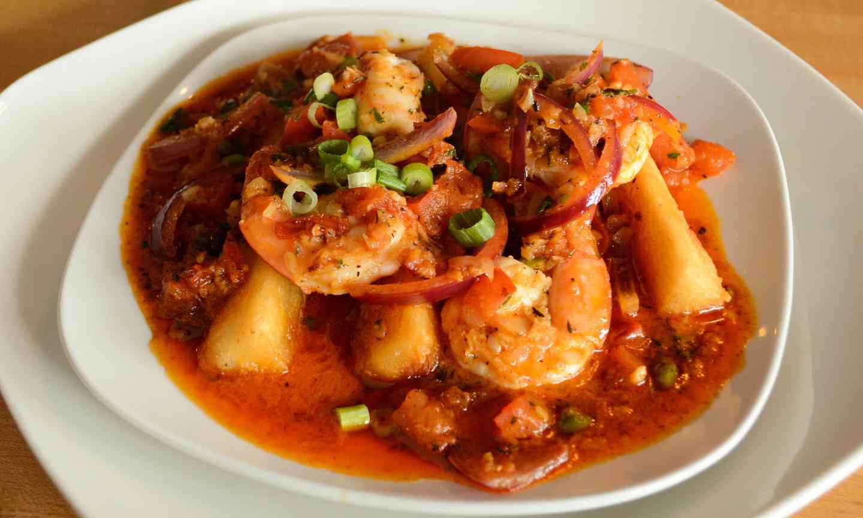 spicy shrimp and yuca