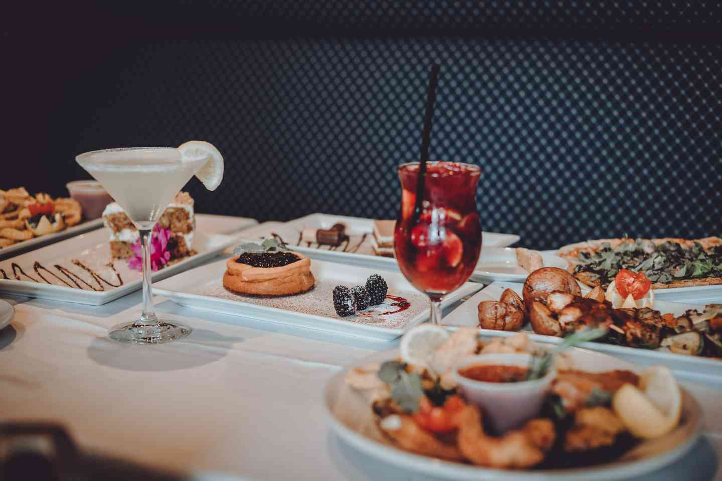 Numerous dish options and drinks served at Mezza Luna