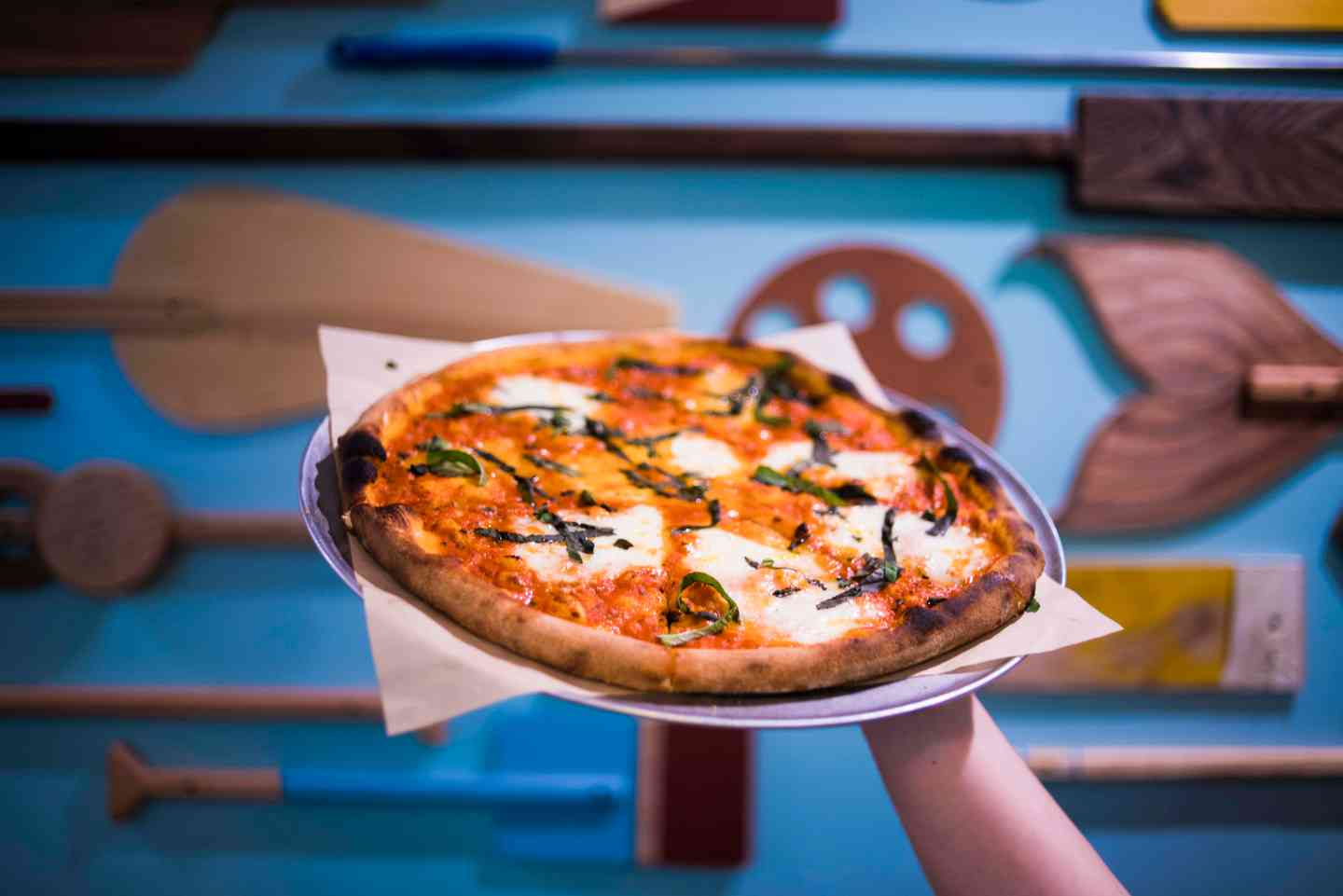 Pizza Blue Background