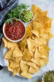 Homemade Tortilla Chips with Salsa Three-Way