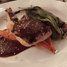 Coffee-Marinated Airline Chicken Breast with Mole