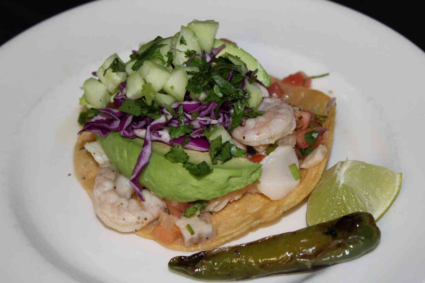 *Shrimp, Fish, or Ceviche Tostada
